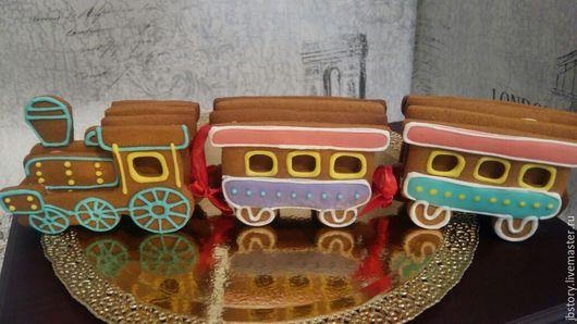 Кулинарные сувениры ручной работы. Ярмарка Мастеров - ручная работа. Купить Пряничный поезд. Handmade. Пряничный паровоз