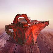 """Посуда ручной работы. Ярмарка Мастеров - ручная работа Чайник """"Красная лава"""". Handmade."""