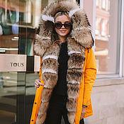 Одежда handmade. Livemaster - original item Yellow parka with natural raccoon and Voile Fox fur. Handmade.