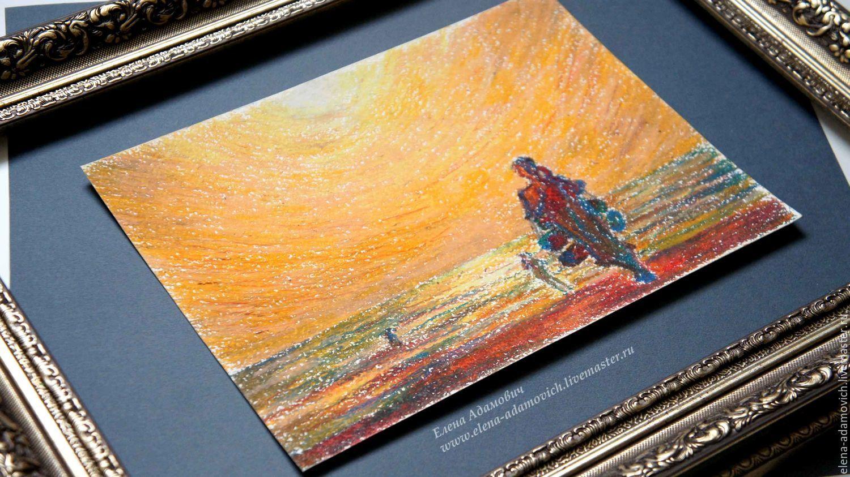 Пастель картина Купи барабан. Картины природы. Картины мира. Закат на море. Купить рисунок. Картина в подарок. Роскошный подарок. Сочные цвета