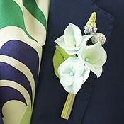 Свадебный салон ручной работы. Ярмарка Мастеров - ручная работа Бутоньерка с гортензией цвета Тиффани из холодного фарфора. Handmade.