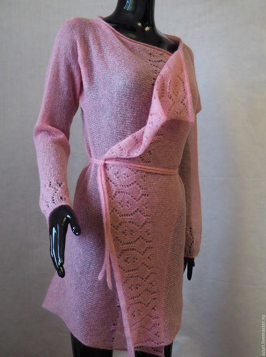 Кофты и свитера ручной работы. Ярмарка Мастеров - ручная работа. Купить Кардиган ажурный вязаный из кид-мохера. Handmade.
