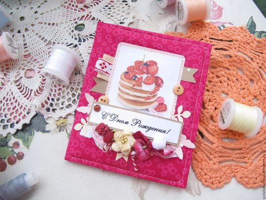 Открытки на день рождения ручной работы. Ярмарка Мастеров - ручная работа. Купить Мягкая,тканевая открытка на день рождения женская 1. Handmade.