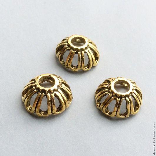 Шапочки для бусин, цвет золото античное. Шапочки для украшений и бижутерии ручной работы. Handmade.