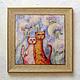 Животные ручной работы. Ярмарка Мастеров - ручная работа. Купить Картина кот и кошка в одуванчиках, акварель, жикле на плитке. Handmade.
