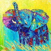 Картины и панно ручной работы. Ярмарка Мастеров - ручная работа 7. Солнечный слон абстрактная картина маслом 30 на 40 см подарок. Handmade.