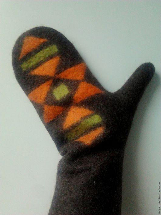 """Варежки, митенки, перчатки ручной работы. Ярмарка Мастеров - ручная работа. Купить Варежки """"Килим, оранж"""" войлочные. Handmade. в подарок"""