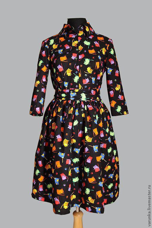 """Платья ручной работы. Ярмарка Мастеров - ручная работа. Купить Платье """"кисяки-миядзаки"""". Handmade. Черный, Кошки, веселое платье"""