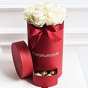 """Цветы и флористика ручной работы. Ярмарка Мастеров - ручная работа Букет из роз в шляпной коробке """"Уайт"""". Handmade."""