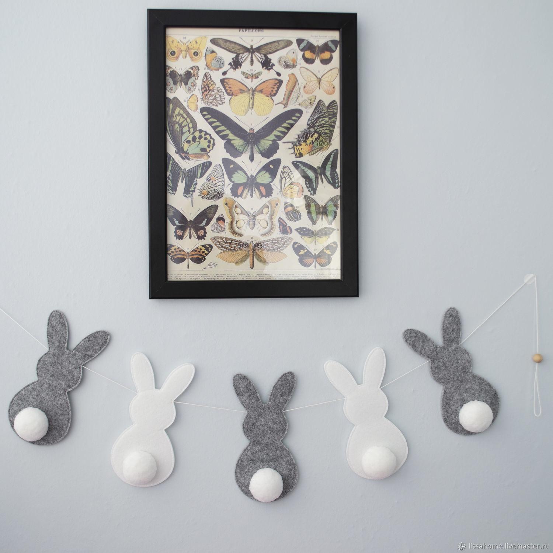 Зайчики mini - Gray &white - гирлянда в детскую, Элементы интерьера, Краснодар,  Фото №1