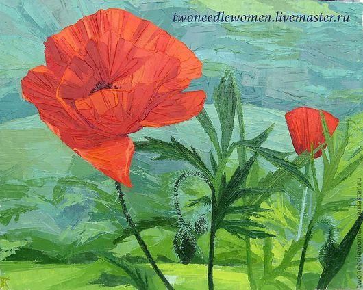"""Картины цветов ручной работы. Ярмарка Мастеров - ручная работа. Купить """"Маки"""". Handmade. Природа, цветы, картина с цветами, маки"""