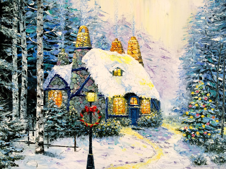 служить источником зимняя новогодняя картина рисунок мир потоке, где