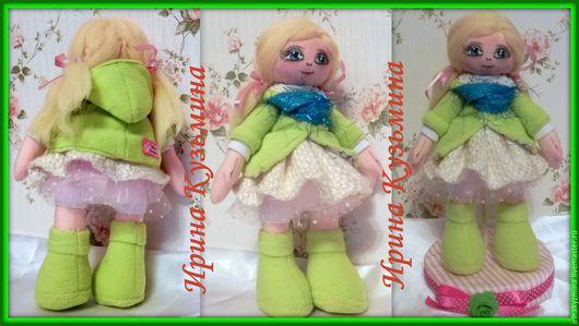 Человечки ручной работы. Ярмарка Мастеров - ручная работа. Купить Кукла Катя. Handmade. Ярко-зелёный, игрушки ручной работы