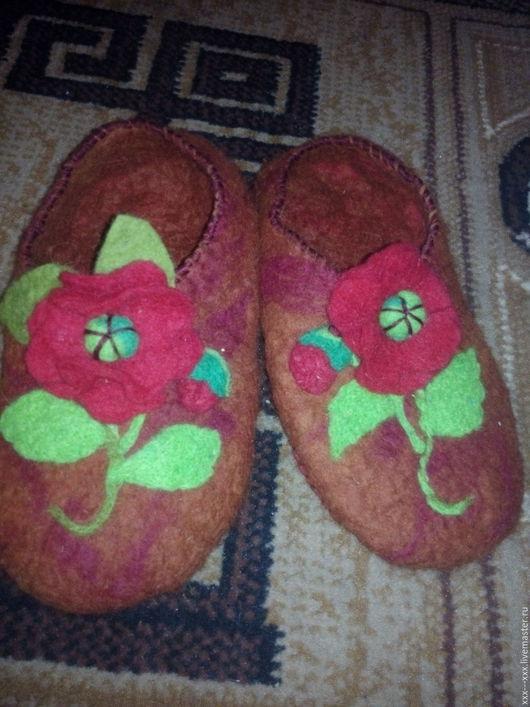 """Обувь ручной работы. Ярмарка Мастеров - ручная работа. Купить тапочки валяные женские """"домашние"""". Handmade. Оранжевый, маки"""