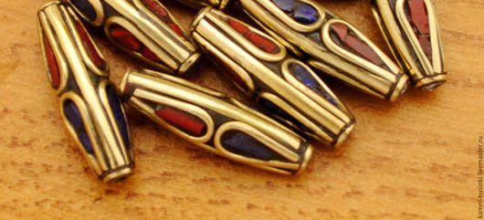 Для украшений ручной работы. Ярмарка Мастеров - ручная работа. Купить Бусины тибетские латунь коралл бирюза ручной работы Непал. Handmade.