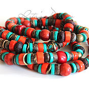 Работы для детей, handmade. Livemaster - original item The long beads (coral, turquoise, coconut, Tibetan beads, petersite, lava). Handmade.