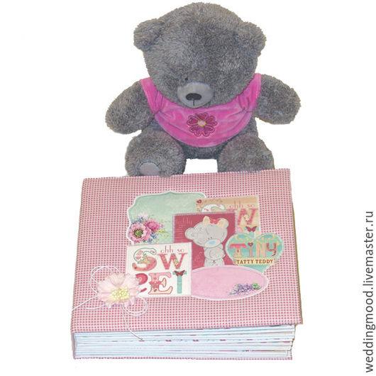 Персональные подарки ручной работы. Ярмарка Мастеров - ручная работа. Купить Альбом для девочки Тедди. Handmade. Розовый, новорожденный, ткань