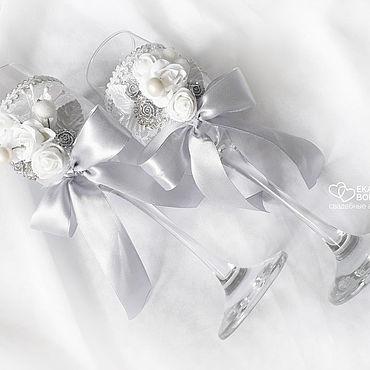 Свадебный салон ручной работы. Ярмарка Мастеров - ручная работа Серебристые свадебные бокалы с цветами и лентами. Handmade.