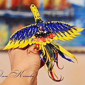 Украшения handmade. Livemaster - original item Firebird of Happiness leather brooch blue yellow. Handmade.