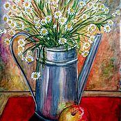 Картины и панно ручной работы. Ярмарка Мастеров - ручная работа Натюрморт с цветами и яблоком. Handmade.
