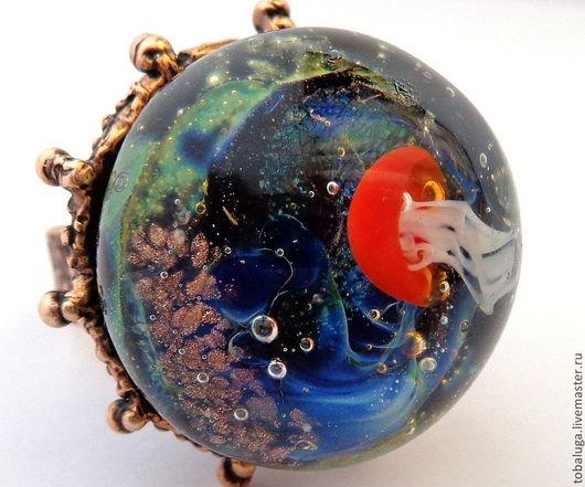 Кольца ручной работы. Ярмарка Мастеров - ручная работа. Купить Кольцо Тайны океана.. Handmade. Кольцо, медуза, авторская работа