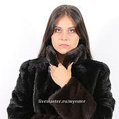 Одежда ручной работы. Ярмарка Мастеров - ручная работа Шуба из меха норки 90 см цвет черный. Handmade.