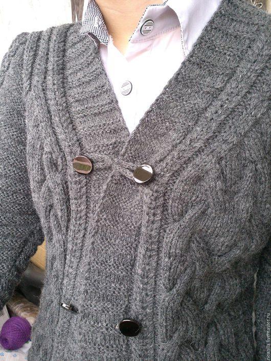 """Пиджаки, жакеты ручной работы. Ярмарка Мастеров - ручная работа. Купить Жакет """"Елена"""". Handmade. Темно-серый, Вязание на спицах"""