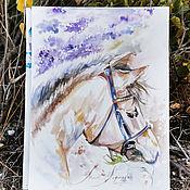 Картины и панно handmade. Livemaster - original item Lavender horse, watercolor painting. Handmade.