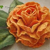 Украшения ручной работы. Ярмарка Мастеров - ручная работа Брошь Роза желто-оранжевая. Handmade.