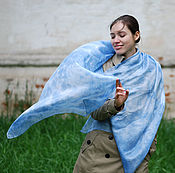 Аксессуары handmade. Livemaster - original item Scarf silk `heavenly` Indigo air blue and white eco boho. Handmade.