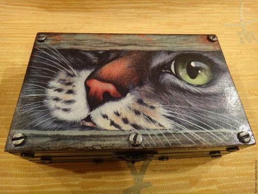 """Шкатулки ручной работы. Ярмарка Мастеров - ручная работа. Купить Шкатулка-купюрница """"Кот"""". Handmade. Комбинированный, котяра, подарок подруге"""