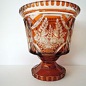 Винтаж handmade. Livemaster - original item Large Vase, colored glass engraving carving Art Deco amber yellow. Handmade.