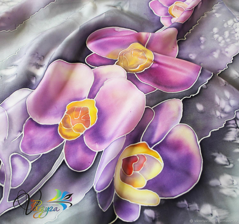 shawl batik, orchids, Studio rainbow, Victoria, Batik, buy batik, batik scarf, batik silk stole, batik silk scarf, scarf silk, silk, silk stole, batik clothes, accessories, batik, flowers