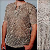 Одежда handmade. Livemaster - original item Associated from flax .Men`s fishnet jumper Polo. Handmade.