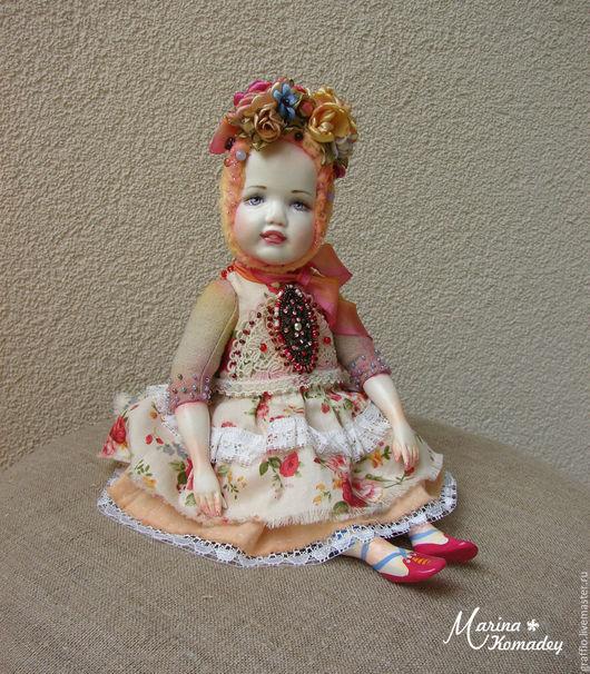 Коллекционные куклы ручной работы. Ярмарка Мастеров - ручная работа. Купить тедди-долл цветочная. Handmade. Желтый, кукла интерьерная