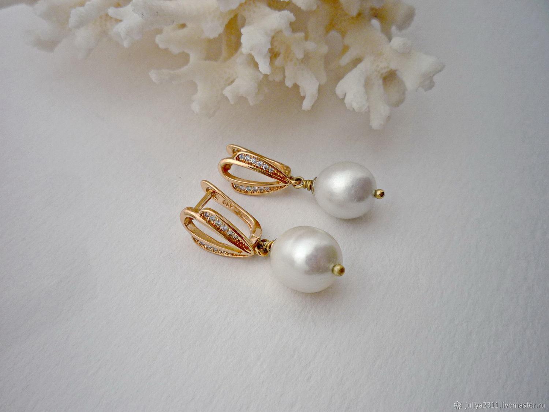 Pearl white pearl earrings, earrings with white pearls, Jewelry Sets, Nizhnij Tagil,  Фото №1