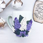 Посуда handmade. Livemaster - original item Mug decorated with polymer clay lilac. Handmade.