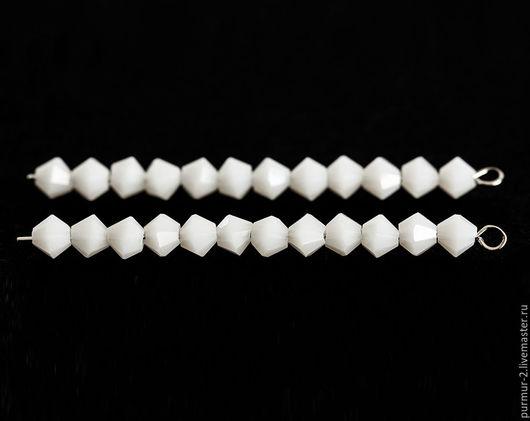 Для украшений ручной работы. Ярмарка Мастеров - ручная работа. Купить 1471_Белые бусины 4 мм, Стеклянные бусины биконус, Ювелирное стекло.. Handmade.
