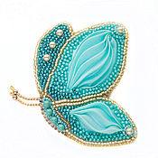Украшения handmade. Livemaster - original item Brooch Butterfly blue turquoise Shibori silk. Handmade.