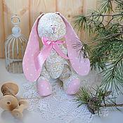 Куклы и игрушки ручной работы. Ярмарка Мастеров - ручная работа Зайка бежевый розовые ушки. Handmade.