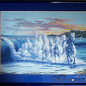 Картины и панно ручной работы. Ярмарка Мастеров - ручная работа Вышитая картина Волна. Handmade.