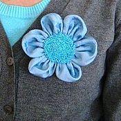 Украшения handmade. Livemaster - original item Flower brooch Celestial bright blue embroidered beaded spring. Handmade.