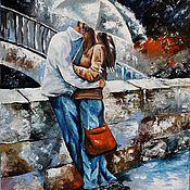 Картины и панно ручной работы. Ярмарка Мастеров - ручная работа Картина маслом Двое под зонтом. Handmade.
