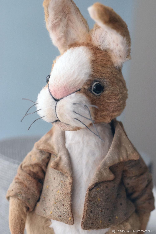 Кролик  тедди Питер. Тедди зайчик.  Кролик тедди  авторская игрушка. Авторский тедди. Купить тедди.