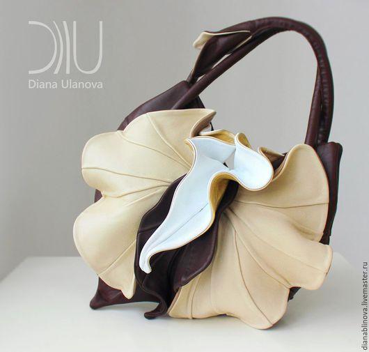 Женские сумки ручной работы. Ярмарка Мастеров - ручная работа. Купить Орхидея NEW шоколад. Handmade. Коричневый, натуральная кожа