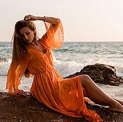 """Одежда ручной работы. Ярмарка Мастеров - ручная работа Пляжное платье """"Оранжевое"""". Handmade."""