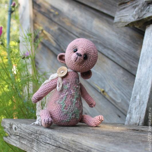 льняной вязаный мишка, ароматизированная игрушка, вязаный тедди, авторская игрушка, мятный мишка, аромат трав, сухие травы, эко мишка, бабушкин чай, аромат мяты, мишки тедди и друзья, рустикальный