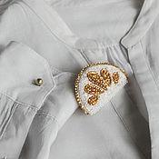 Украшения ручной работы. Ярмарка Мастеров - ручная работа Лимончик в сахаре. Брошь бисерная. Handmade.