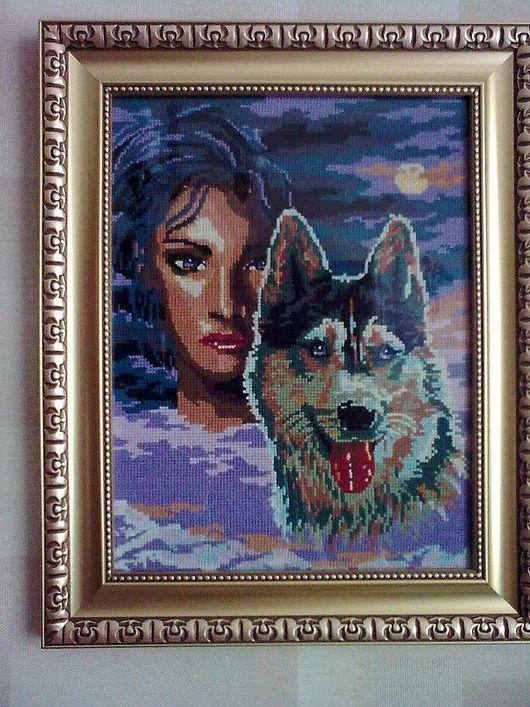 """Люди, ручной работы. Ярмарка Мастеров - ручная работа. Купить """"Волчица"""". Handmade. Жиовтные, люди, картина, Вышитая картина, мулине"""