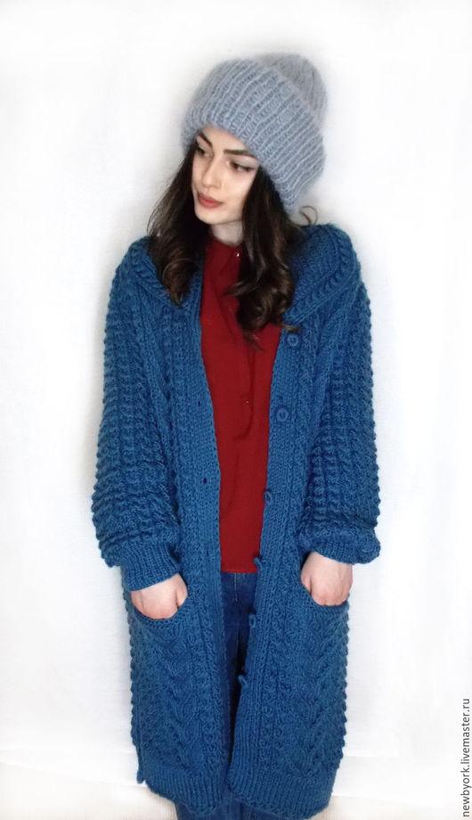 Кофты и свитера ручной работы. Ярмарка Мастеров - ручная работа. Купить Пальто вязаное. Handmade. Синий, пальто вязаное